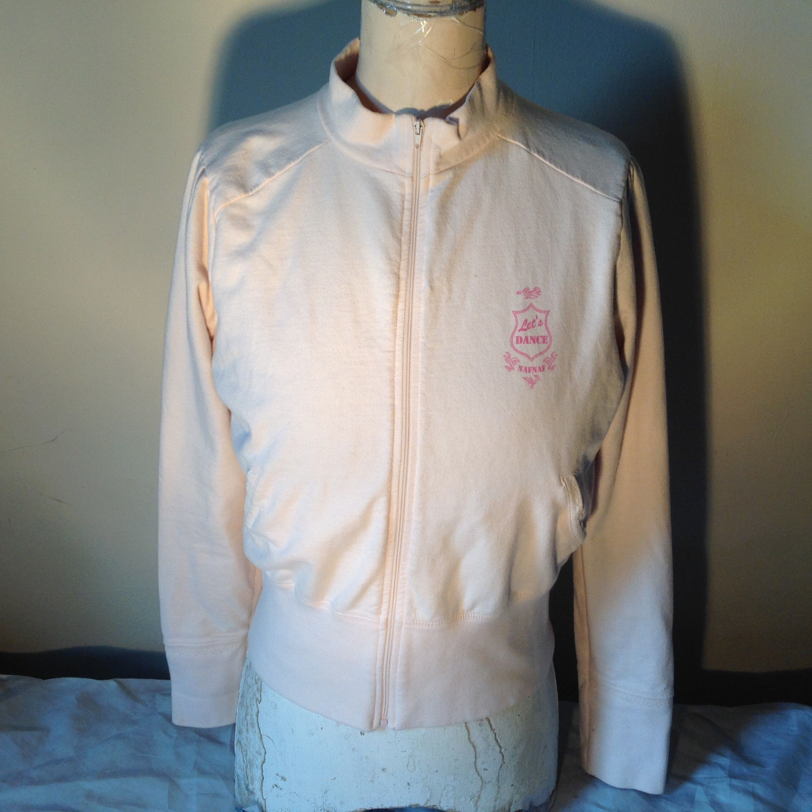 Light Pink Sweatshirt Zip Up Long Sleeve NAFNAF Lets Dance N on Back Size Large