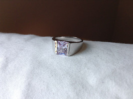 Light Purple CZ Stone Stainless Steel Ring Size 9