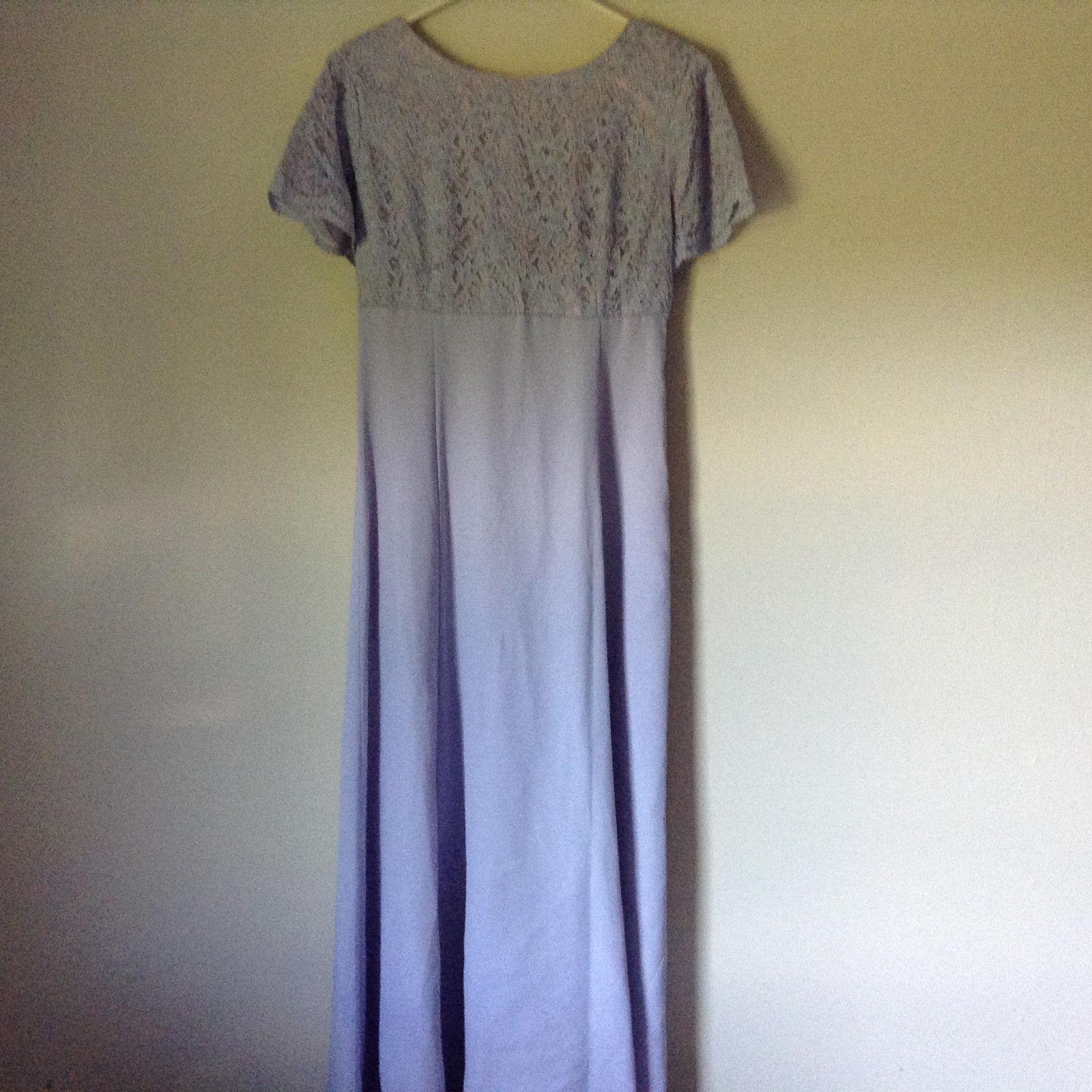 Light Purple Lavender Gown Dress Flowers on Back Light Shoulder Pads No Tag