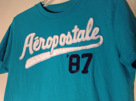 Aeropostale in White Letters on Green Short Sleeve T-Shirt Plain Back Size Small image 2