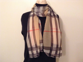 Light Tan Black Red Plaid Scarf 100 Percent Polyester NEW image 1