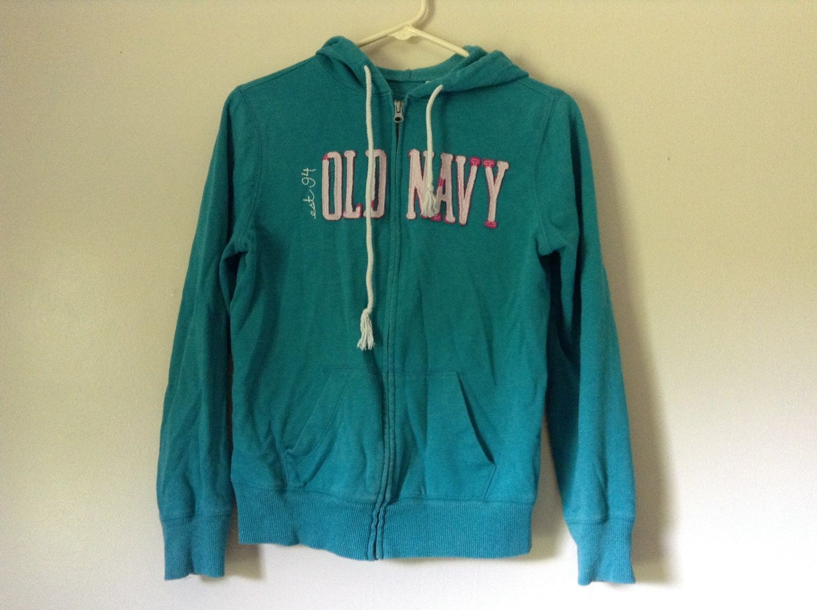 Light Teal Blue Zip  Up Long Sleeve Old Navy Hoodie Sweatshirt Size Medium