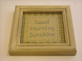 New primitive embroidered framed stitchery Good Morning Sunshine image 1