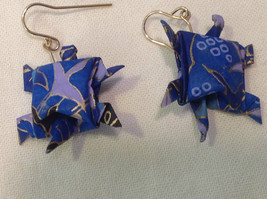 New w tags origami  blue and gold gilt  turtle earrings w gold wires washi paper
