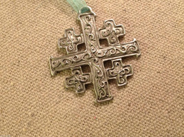 New small Pewter hand made Jerusalem Cross hanging wall ornament w blessing