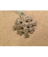 New small Pewter hand made Jerusalem Cross hanging wall ornament w blessing - $24.25