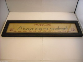 New primitive embroidered framed stitchery Always kiss me goodnight image 1