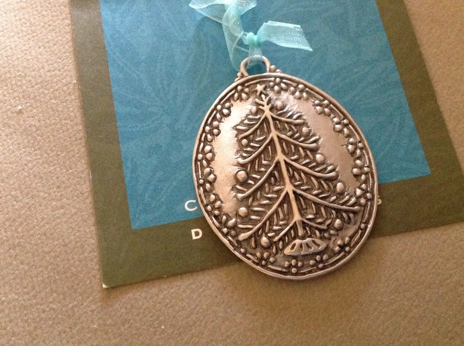 New small Pewter hand made Christmas tree hanging wall ornament made in USA