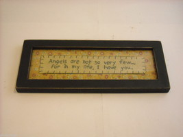 New primitive embroidered framed stitchery Angels in my life I have You image 1