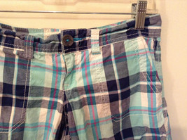 Aeropostale Turquoise Blue Plaid Shorts Size 1 to 2 Front and Back Pockets image 3