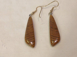 New w tags natural blonde and medium wood grained earrings long dangle