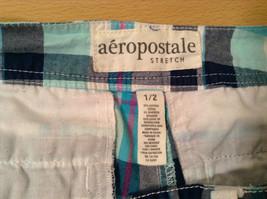 Aeropostale Turquoise Blue Plaid Shorts Size 1 to 2 Front and Back Pockets image 8