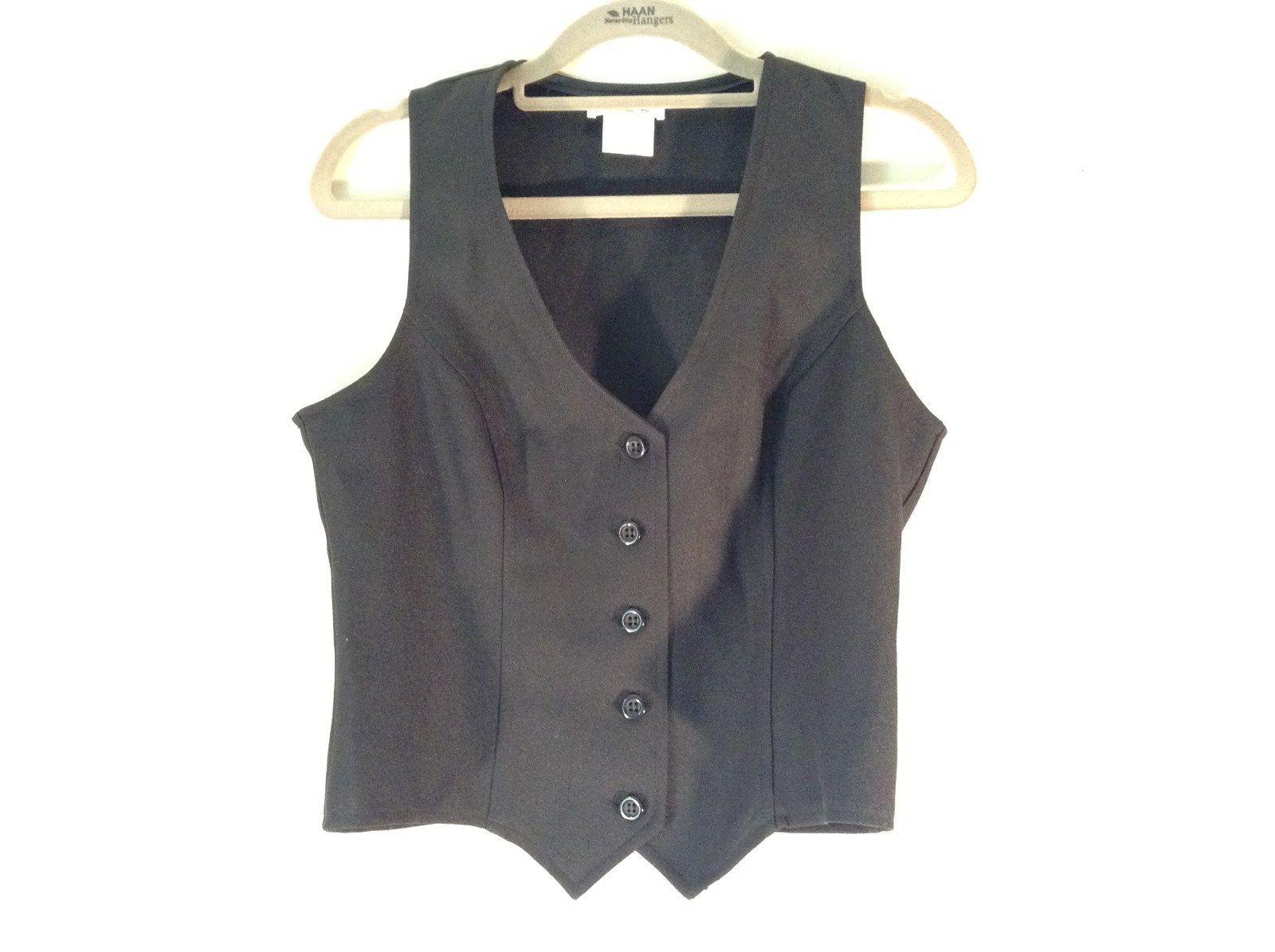 Nice Vintage Black Sleeveless Vest Five Button Closure V Neck Size 11 to 12