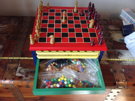 Nine Game Station Wood Chess Parcheesi Checkers Backgammon Solitaire Pass Out