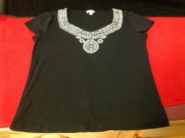 Nine West Black Short Sleeve Ladies Blouse Black Gold Design at Neck Size Small