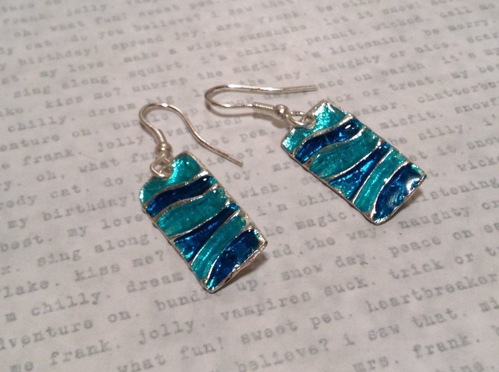 Light and Dark Blue Waves Glossy Finish Pewter and Enamel Handcrafted Earrings