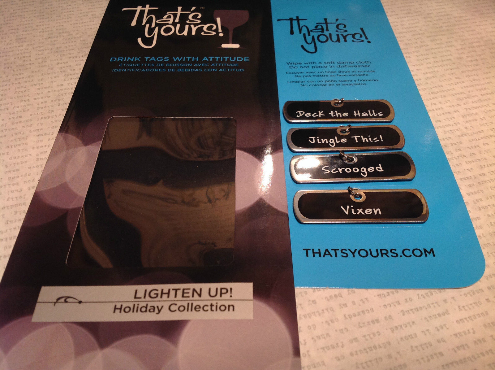 Lighten Up Holiday Collection Drink Tags With Attitude for Wine Glasses Scrooged
