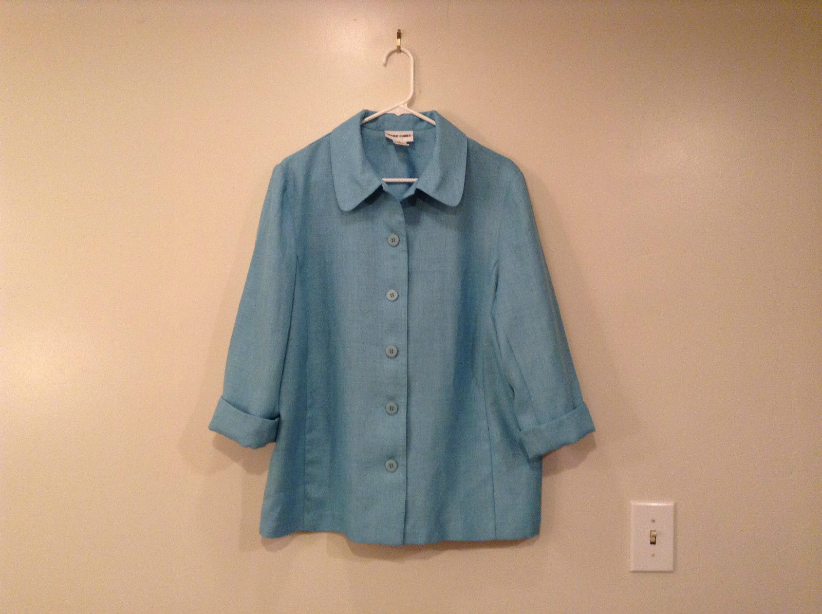 Lightweight Light Turquoise Alfred Dunner Unlined Blazer Front Buttons Size 16