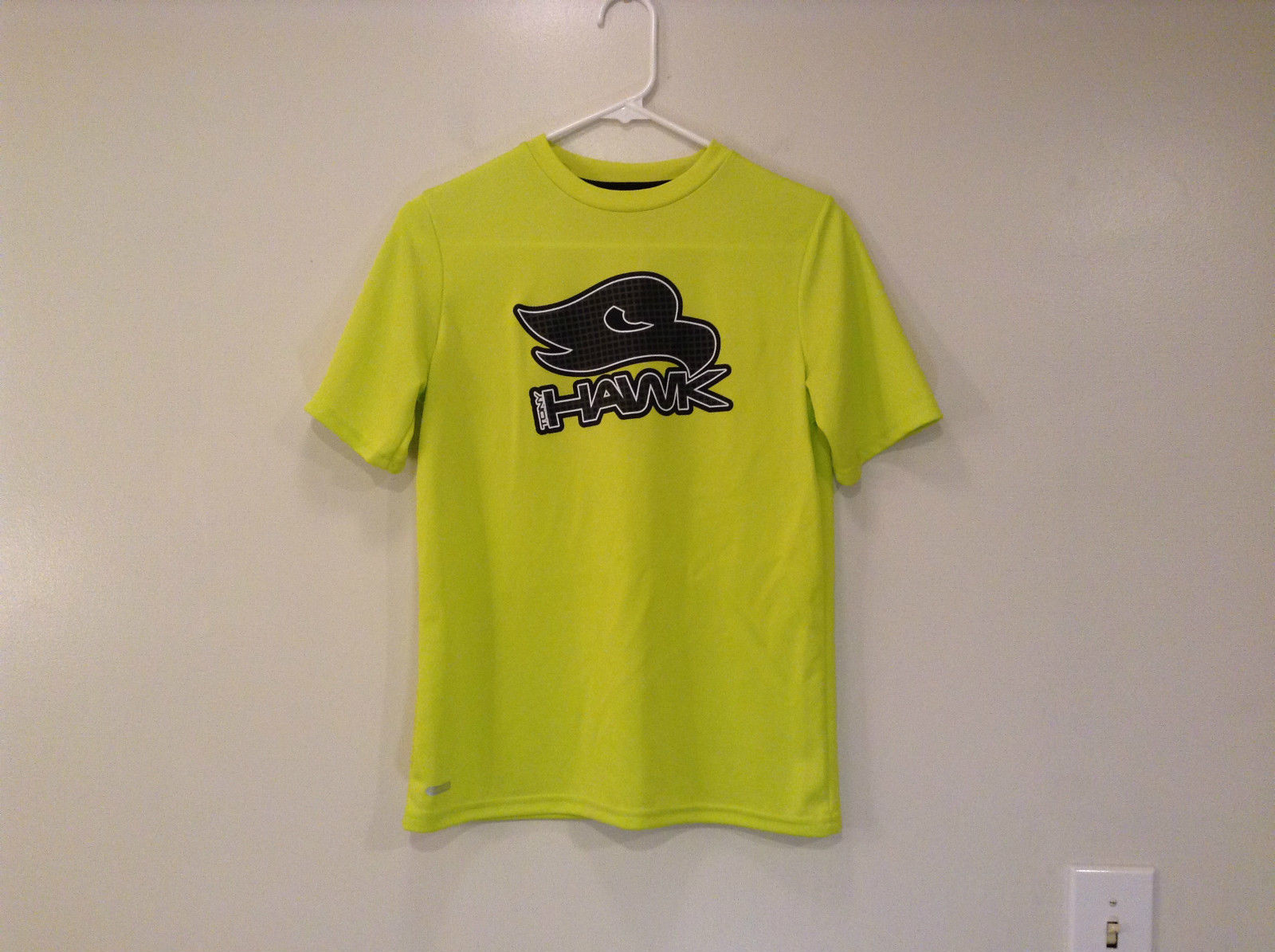 Lime Yellow Short Sleeve 100 Percent Polyester Shirt Hawk Size L 14 to 16