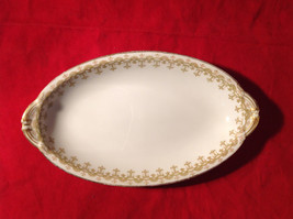 Limoges France Serving Oval Shaped Platter Green Vine Like Design Gold Edges