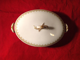 Limoges France Large Servicing Dish with Lid Gold Covered Edges Oval Shaped