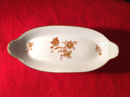 Limoges France Oval Standing Serving Dish Gold and Red Flowers Gold Covered Edge