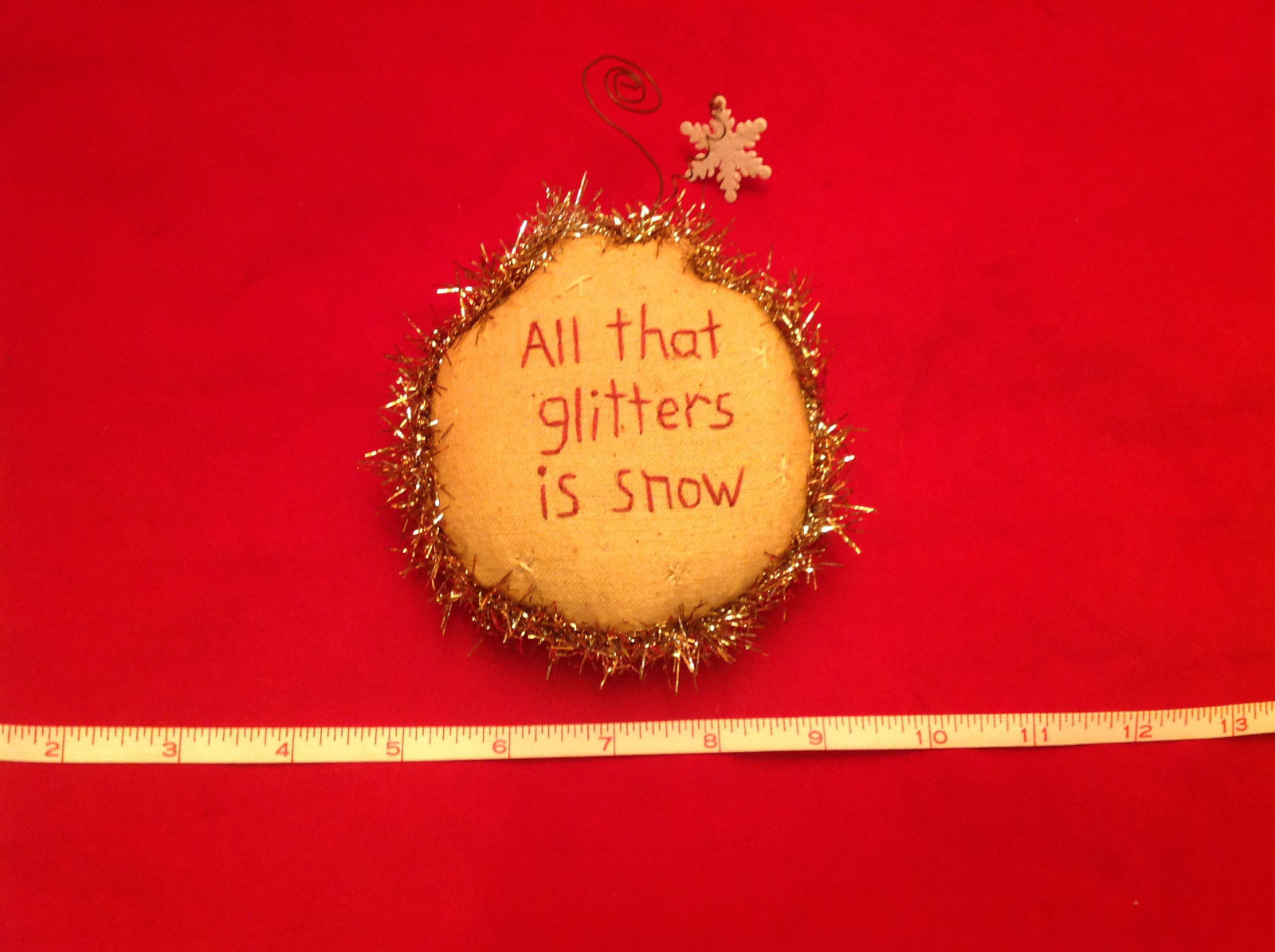 Little Christmas Ornament Pillow Stitched All that Glitters is Snow