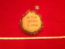 Little Christmas Ornament Pillow Stitched All that Glitters is Snow image 1