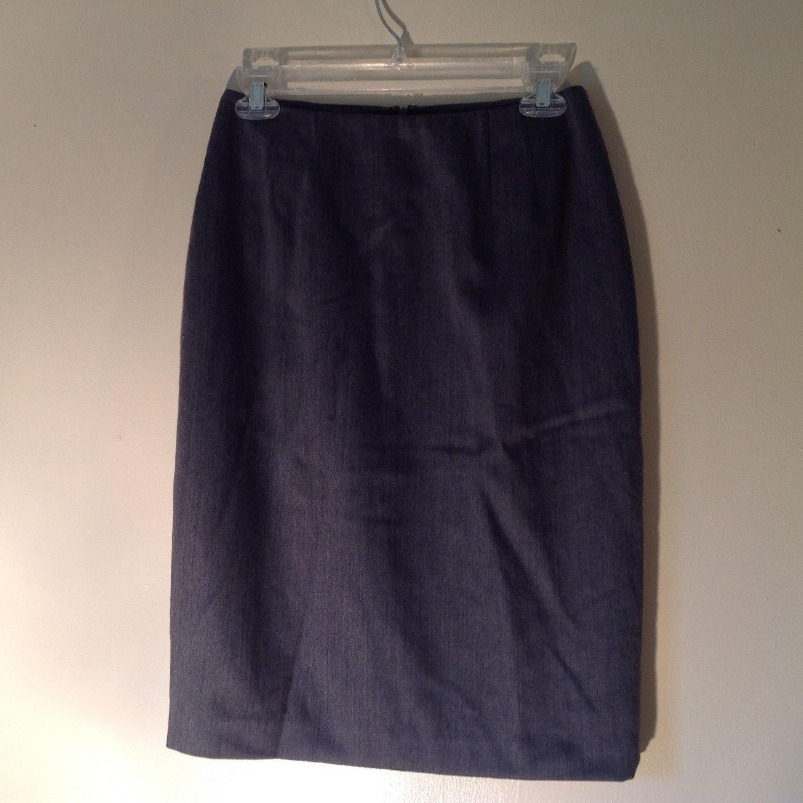Linda Allard Ellen Tracy Gray Formal Skirt 100 Percent Wool Zipper Size 6