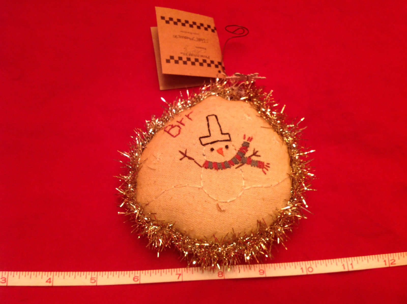 Little Christmas Ornament Pillow Stitched Brr with Snowman New with Tags
