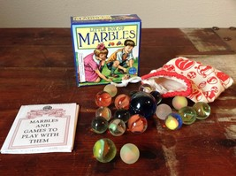 Little Box of Marbles with Cloth Marble Bag Marbles and Games to Play With Them