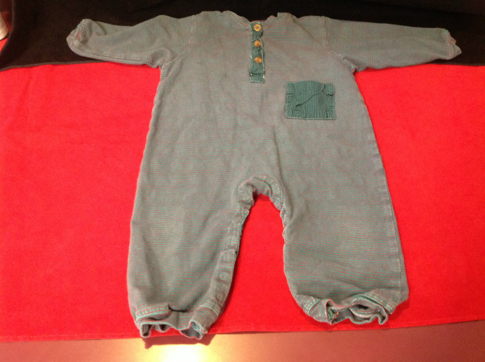Little Creature Romper Green Red Stripes Size 2
