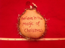 Little Christmas Ornament Pillow Stitched Believe in the Magic of Christmas - $8.90