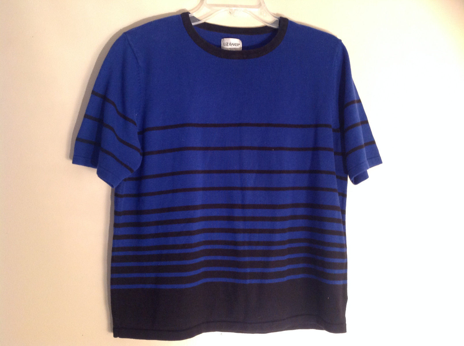 Liz Baker Blue Black Striped Short Sleeve Shirt Crew Neckline Size Large