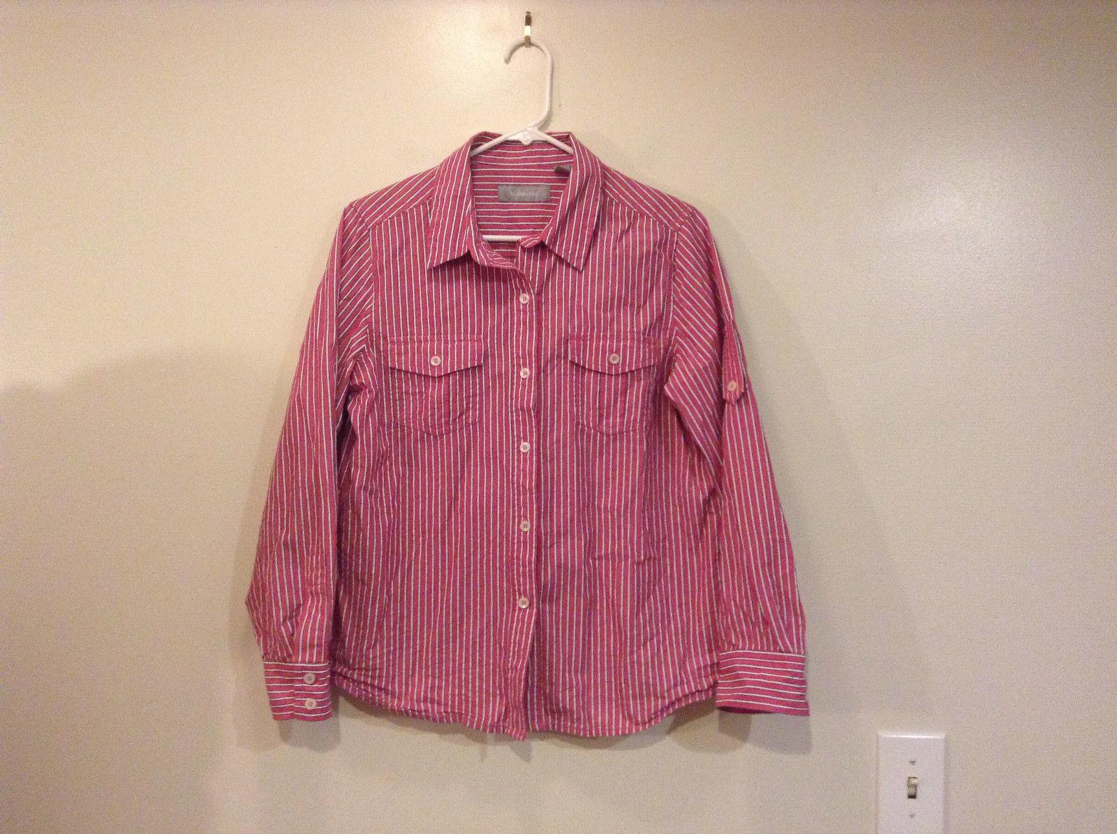 Liz Claiborne Deep Pink Button Up Front Adjustable Sleeve Length Shirt Size L