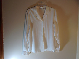 Liz Baker White Long Sleeve Button Up White Buttons Silky Feel Size 16 image 1