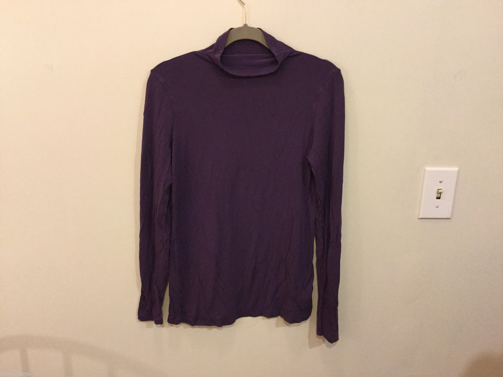 Liz Claiborne Purple Mock Neck Stretchable Rayon Blouse Top Turtleneck, Size S