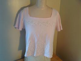 Liz Claiborne Liz Sport Pink T-Shirt with Tiny Flower Designs Bottom and Chest image 1