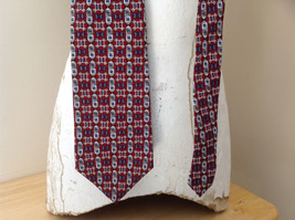 Alfani Silk Deep Red Blue Tan Geometric Design Tie Made in  USA image 2