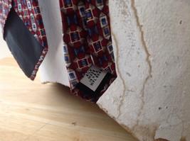 Alfani Silk Deep Red Blue Tan Geometric Design Tie Made in  USA image 5