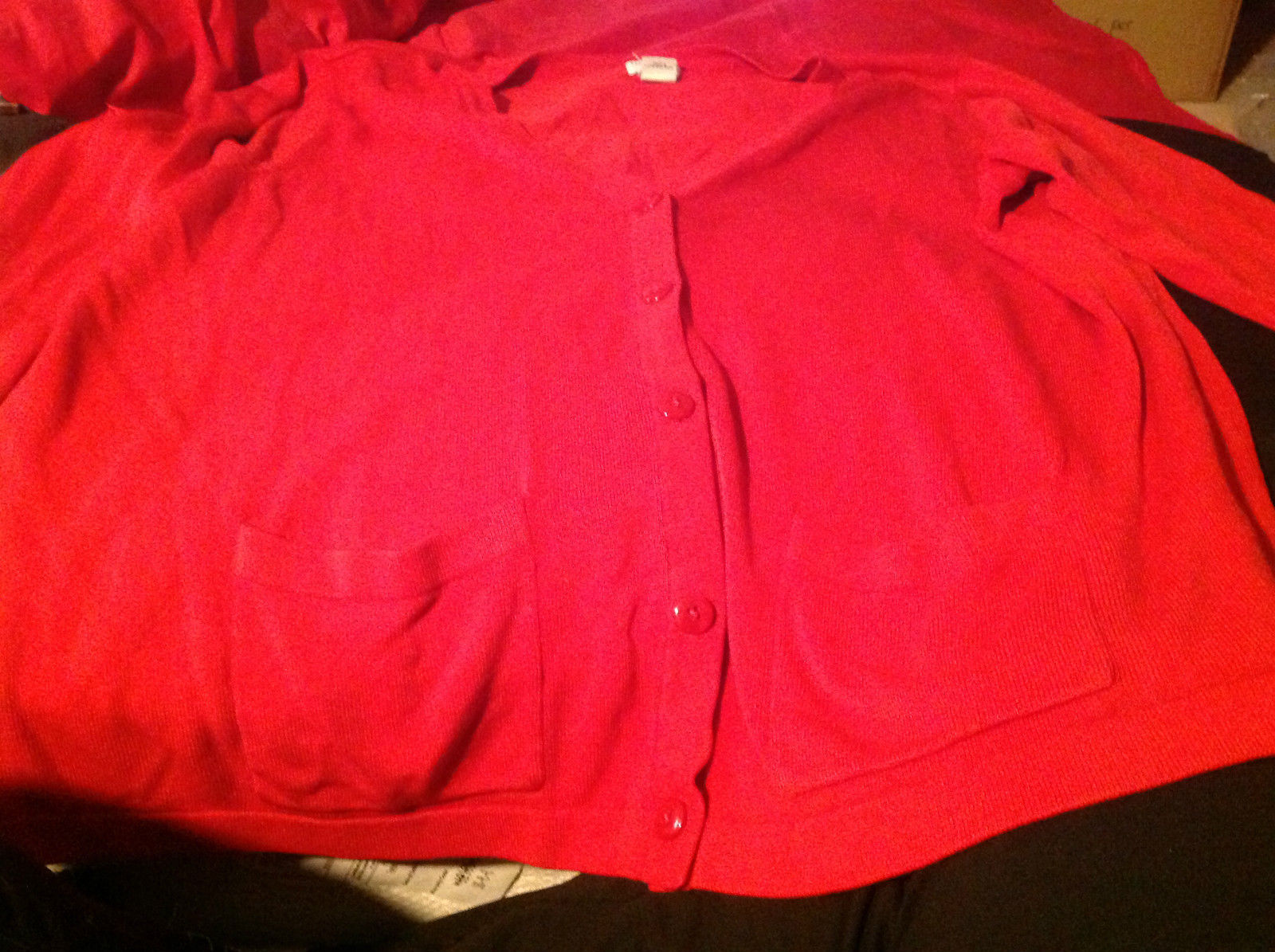 Liz Baker Red Colored Cardigan 2 Pockets Button Front Closure Size 3X