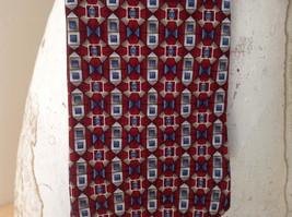 Alfani Silk Deep Red Blue Tan Geometric Design Tie Made in  USA image 3