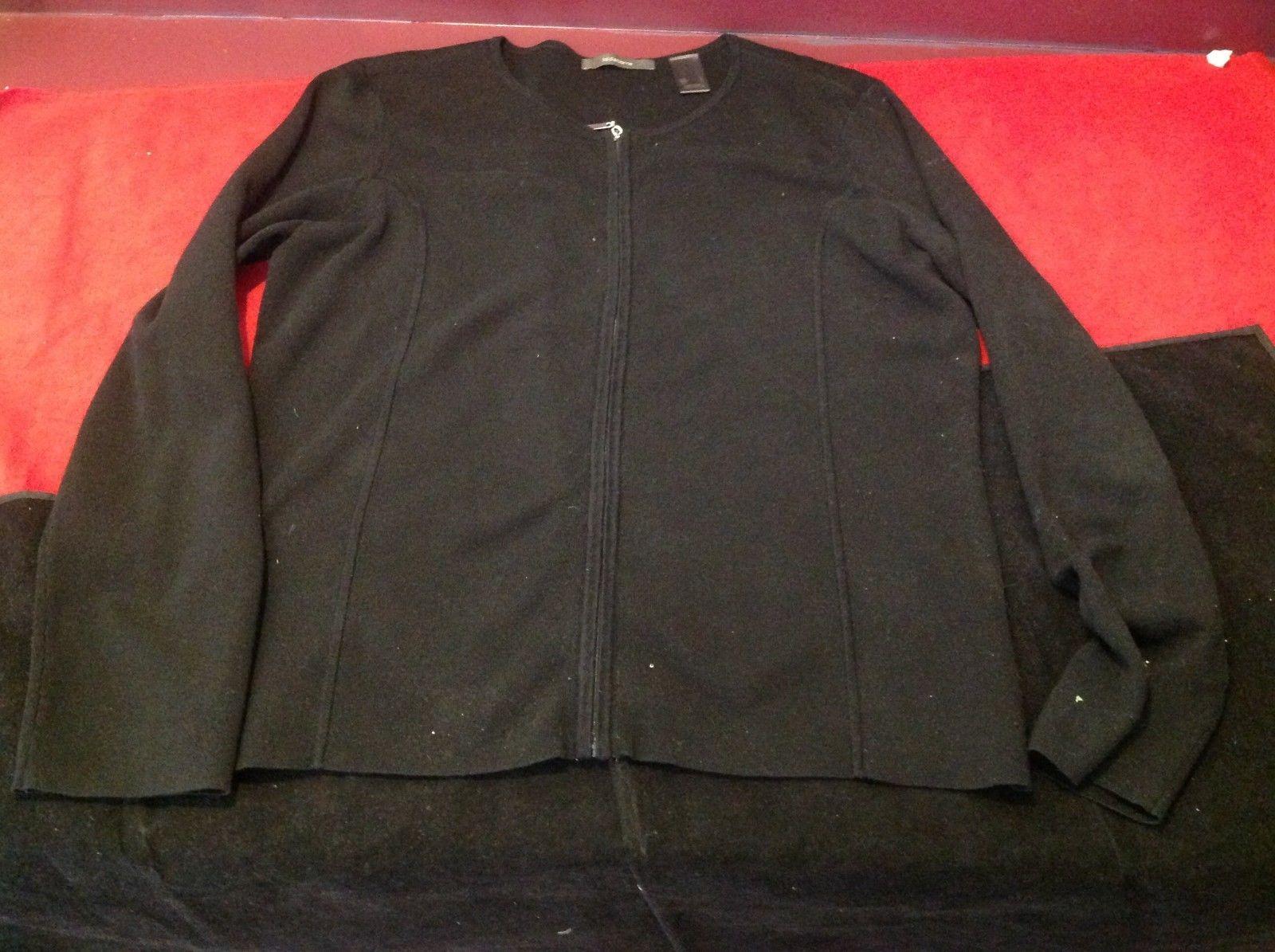 Liz Claiborne Women's black cardigan zipper sweater size large