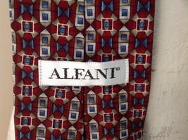 Alfani Silk Deep Red Blue Tan Geometric Design Tie Made in  USA image 6