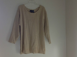 Liz Sport Tan Knit Sweater Three Quarter Length Sleeves Scoop Neck Size Medium