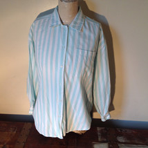 Liz Thomas Button Down Light Turquoise and White Striped Shirt Casual Size M