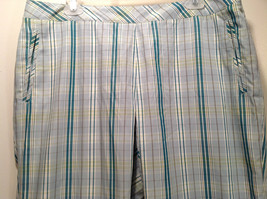 Liz Golf Audra Size 16 Light Blue Green Plaid Casual Pants - $49.49