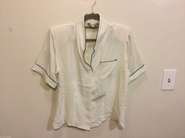 Notations Off-White Polyester Short Sleeve Blouse Buttons Up Shirt, Size 10P