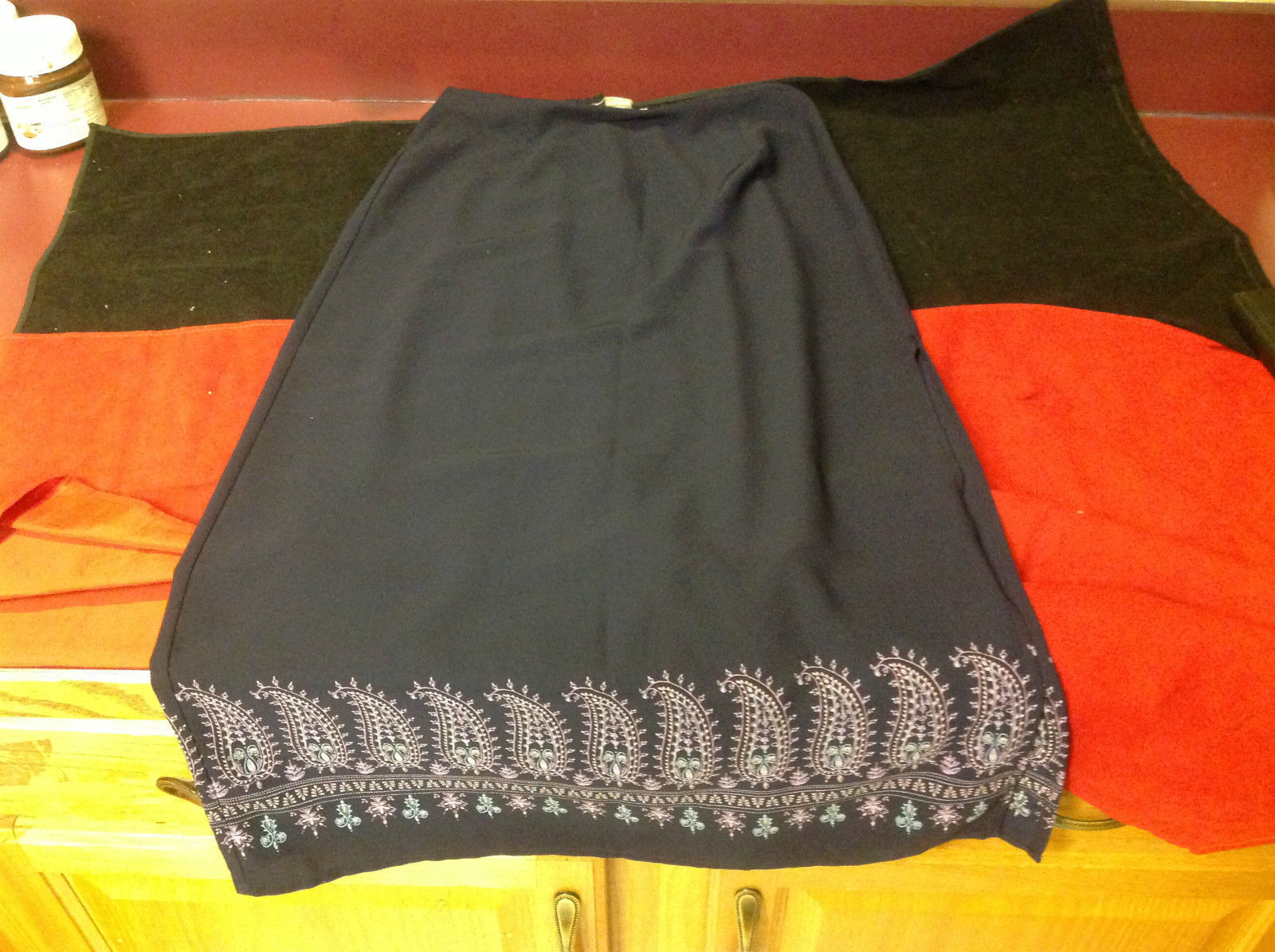 Norton Petite Blue Three Quarter Length Skirt Stretch Waist Size Petite Medium