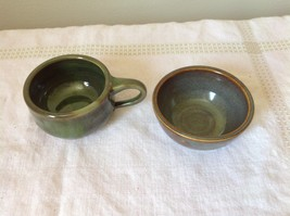One Bowl One Cup with  Handle Made of Clay VS  One Green One Brown Blue
